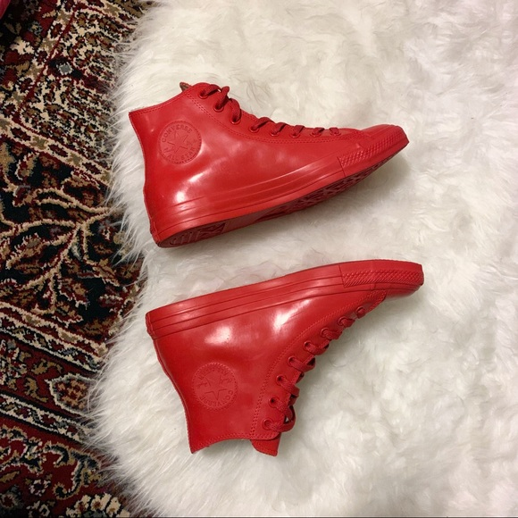 Converse All Stars Red Rubber High Tops
